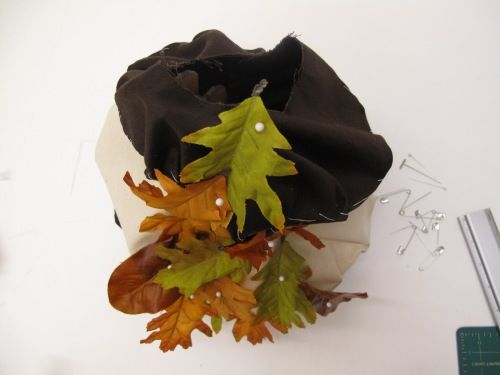 top view of 'tent', with leaves as embellishment