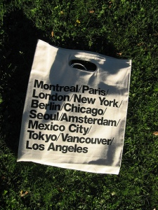 american apparel's cities bag, for gloating/poser globetrotters