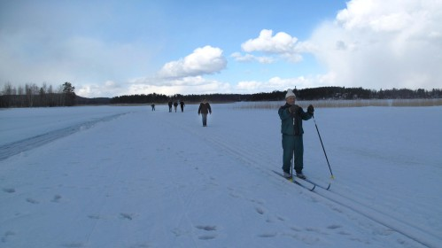 finnish octogenarians on cross country skis whizzed by